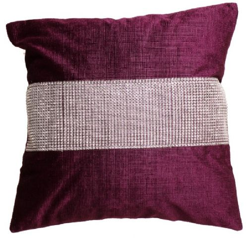 STUNNING DIAMANTE VELVET CUSHION AUBERGINE PURPLE COLOUR